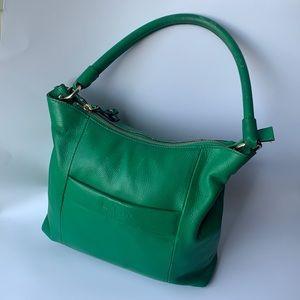 KATE SPADE Green Pebble Leather Shoulder Handbag